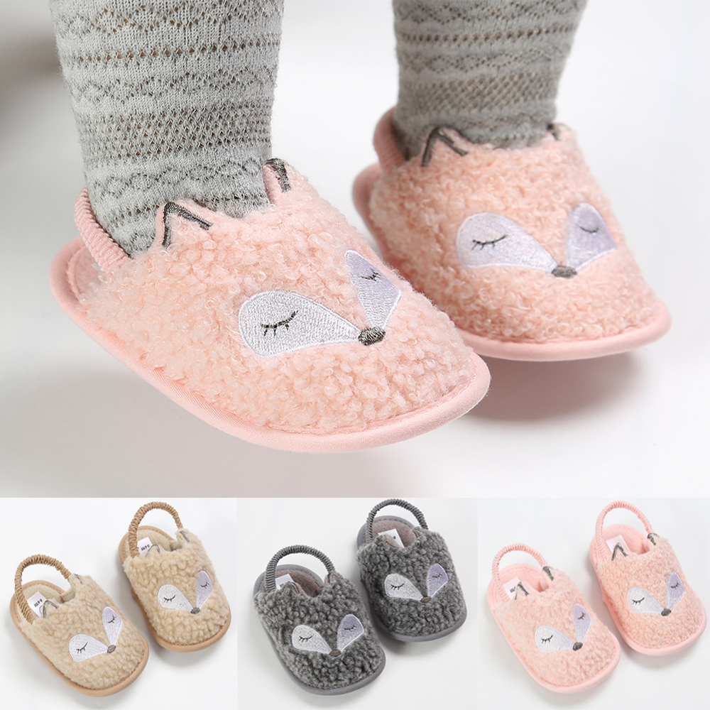 Newborn Baby Shoes Cute Fox Warm Fuzz Star Casual Shoes Anti-Slip Soft-soled Toddler Baby First Walkers Crib Shoes Moccasins