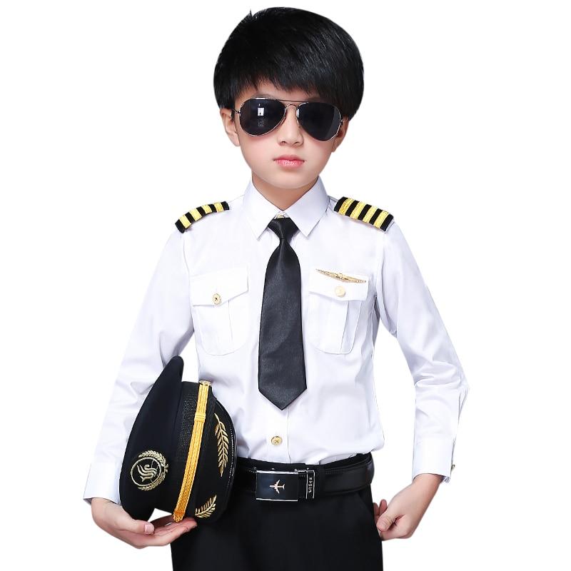 New Fashion Brand Kids Pilot Uniform Boys Captain Slim Fit Shirts Stage Performance Costume Children's Clothing
