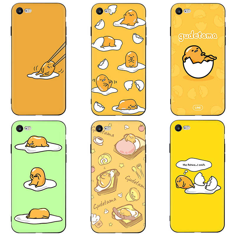 Bonito adorável gudetama ovo preguiçoso tpu macio silicone caso capa do telefone para o iphone 6 6s 7 8 plus x xr xs max