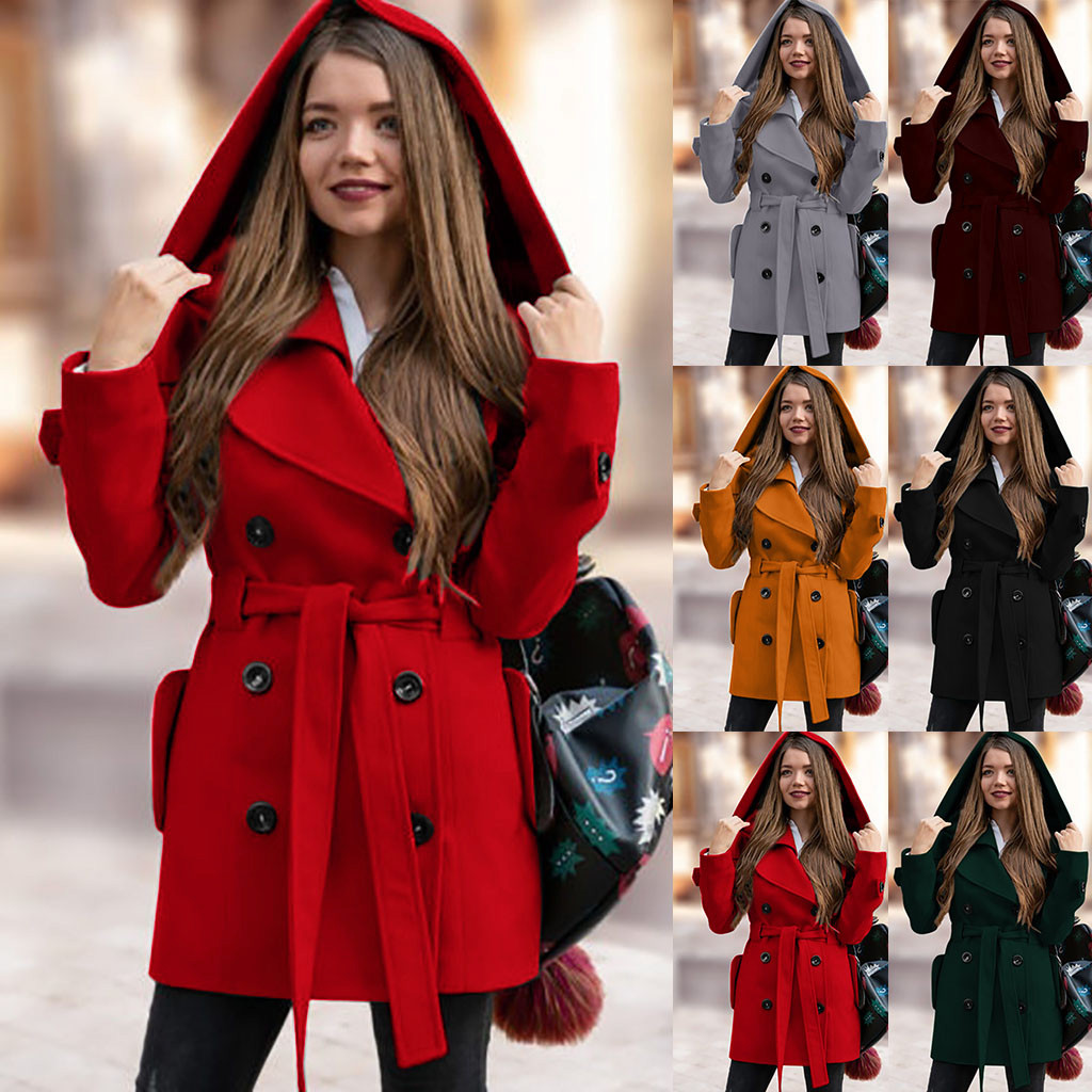 Are You Sure Not To Click In Women's Fashion Winter Hooded Trench Coat Solid Color Casual  With Pocket Purchasing покупка 2019