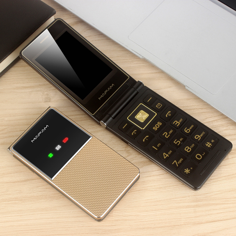 Extra Slim Light Old Man Flip Cellphone Dual Large Display Fast Dial Large Key Black List No FM Folder Senior Mobile Phone