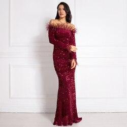 Бордового цвета для девочки платье с блестками перо вельветовое платье вечерние платья бодикон с длинным рукавом, эластичный Слэш шеи пол Д...