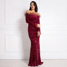 Burgundy Shiny Sequin Feather Velvet Party Dress Long Sleeve Bodycon Stretchy Slash Neck Floor Length Mermaid Black Green