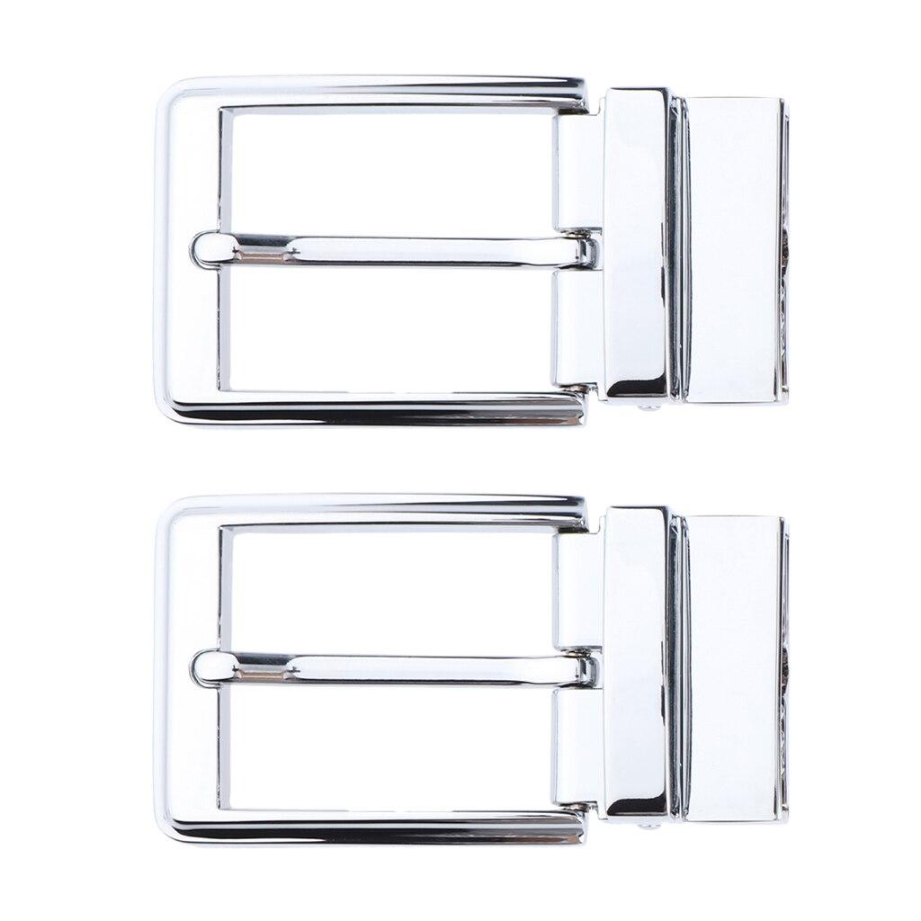 2pcs Men Belt Buckle Single Prong Rectangular Pin Buckle Reversible Silver