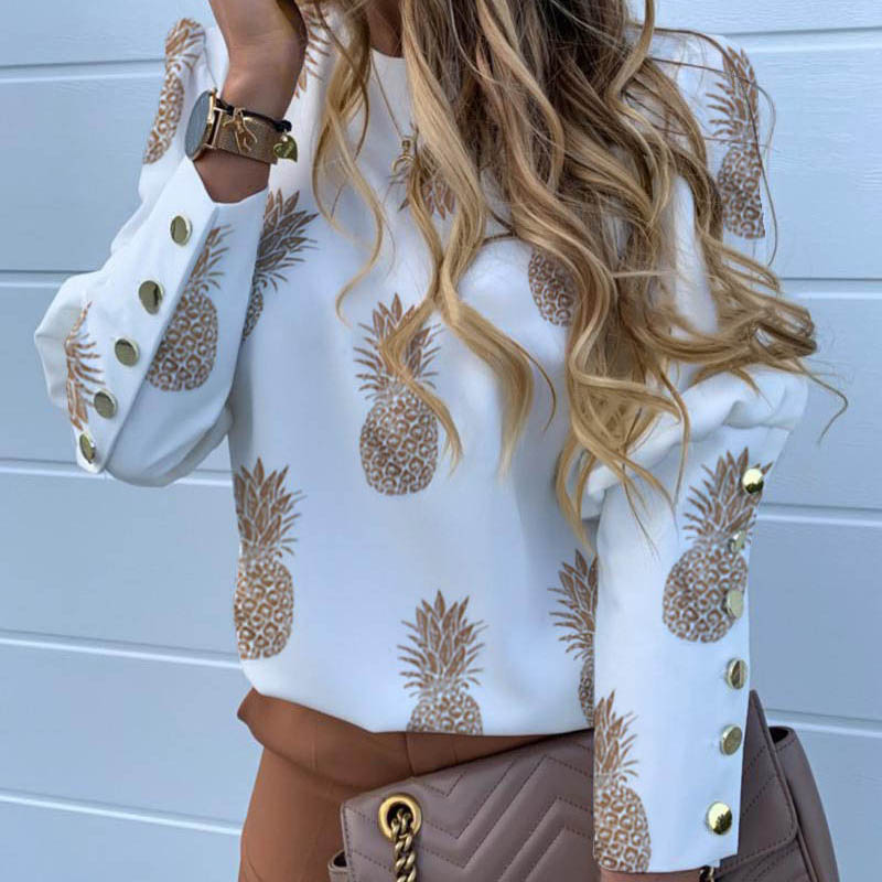 H0fcf2c7a01b745f2bf1f7ecb62adf7afC - Pineapple Blouse Women's Shirt Ananas White Long Sleeve Fashion Woman Blouses Womens Tops and Blouse Elegant Top Female