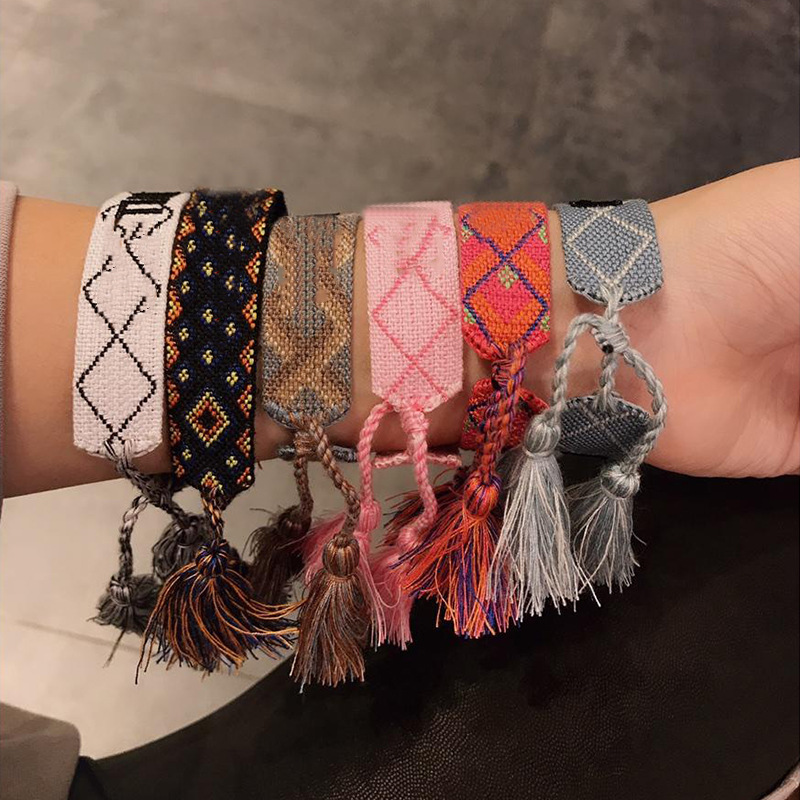 SANYU Letter Bracelet Charm Fringed Woven Fashion Cotton for Hand-Strap Embroidery Stretch
