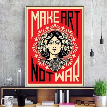 Make Art Not War Shepard Fairey Wall Painting For Room Decoration Home Decor Kraft paper poster Wall stickers image