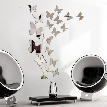 24Pcs/Set Mirror Wall Stickers 3D Effect Butterflies Wall Decal Art Party Decoration Wedding DIY Home Decors stickers Fridge