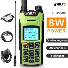 KSUN Walkie Talkie X UV68D(MAX) de alta potencia, 8W, banda Dual, Radio de mano, comunicador bidireccional HF, transceptor, aficionado, Handy
