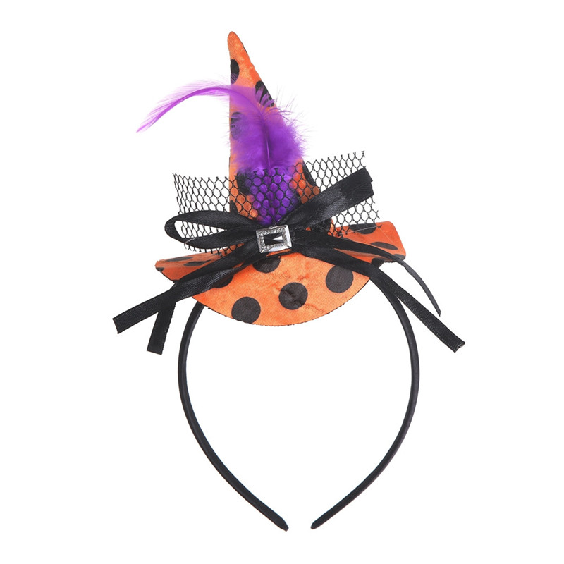 New Mini Witch Hat Headband Halloween Headbands For girls Fancy Dress Props Cosplay Party Gifts Headwear Kids 30Jul3102