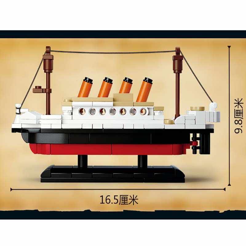 194pcs Città Compatibile Legoed Titanic Nave Barca Building Block Sluban Film Technic Figure di Mattoni Giocattoli Educativi per I Bambini