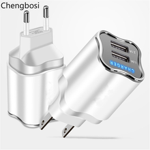 Mobile Phone Charger 5V 1A /2A USB Travel Portable Wall Adapter EU US Plug White with Led Light Illuminate for IPhone