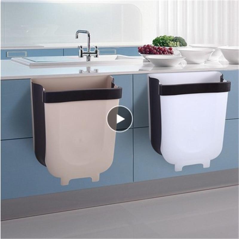 5L Wall Mounted Folding Waste Bin Kitchen Cabinet Door Hanging Trash Bin Garbage Car Trash Can Wall Mounted Foldable Cleaning|Waste Bins| |  - AliExpress