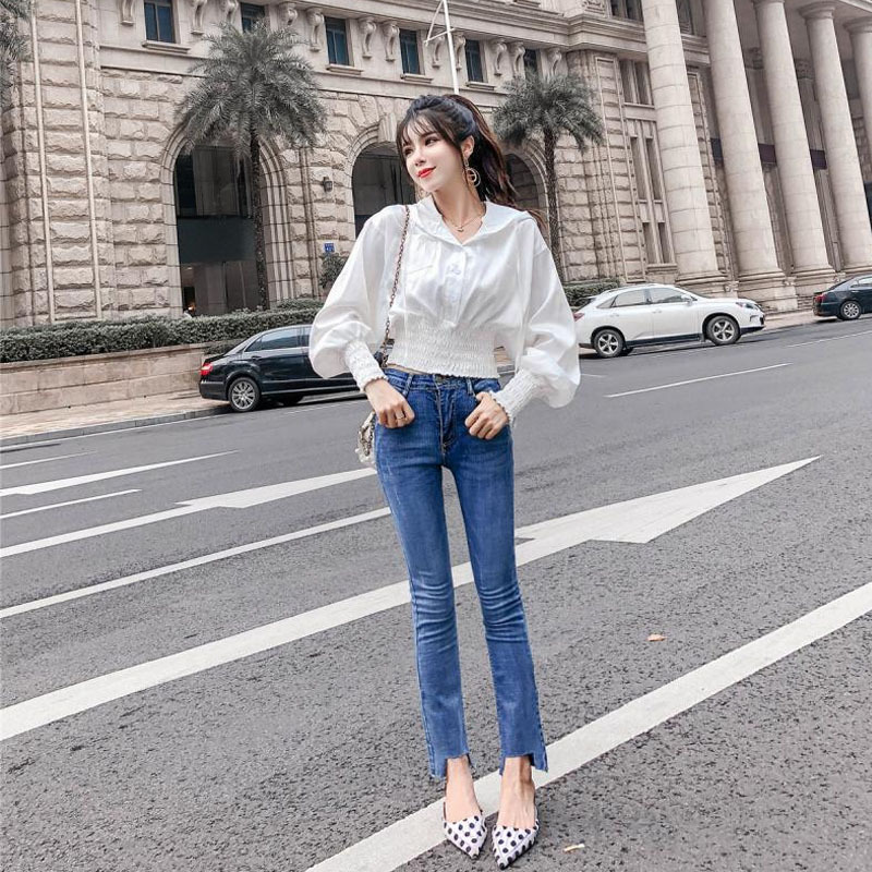 Jeans Women's Spring And Autumn 2019 New Style Korean-style Fashion Elegant Irregular Trousers Slimming Boot-Cut Jeans Fashion