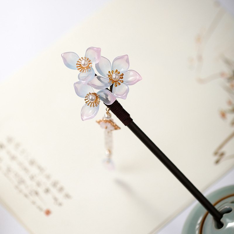 New Fashion White Flower Pearls Long Tassels Handmade Hairpins Clips Wooden Hair Fork Chinese Retro Hanfu Dress Hair Jewelry