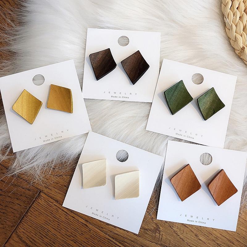 YAOLOGE 2019 Fashion Boho Square Geometric Unique Wooden Drop Earrings For Women Bohemian Vintage Wood Dangle Earring Jewelry