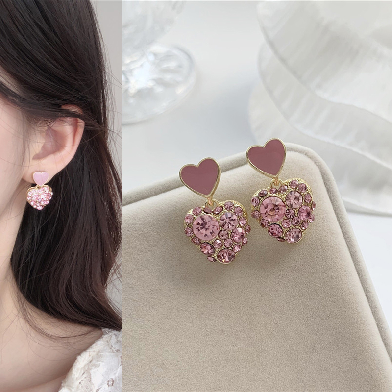 Cute Romantic Rhinestone Inlaid Pink Heart Drop Earrings Korean Sweet Love Pendent Earrings for Women Girls Trend Jewelry Gift