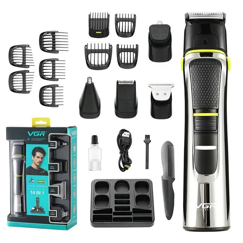 Машинка для стрижки волос VGR 11 в 1 с USB, машинка для стрижки бороды, электрическая машинка для стрижки волос на лице и теле, мужской триммер для...