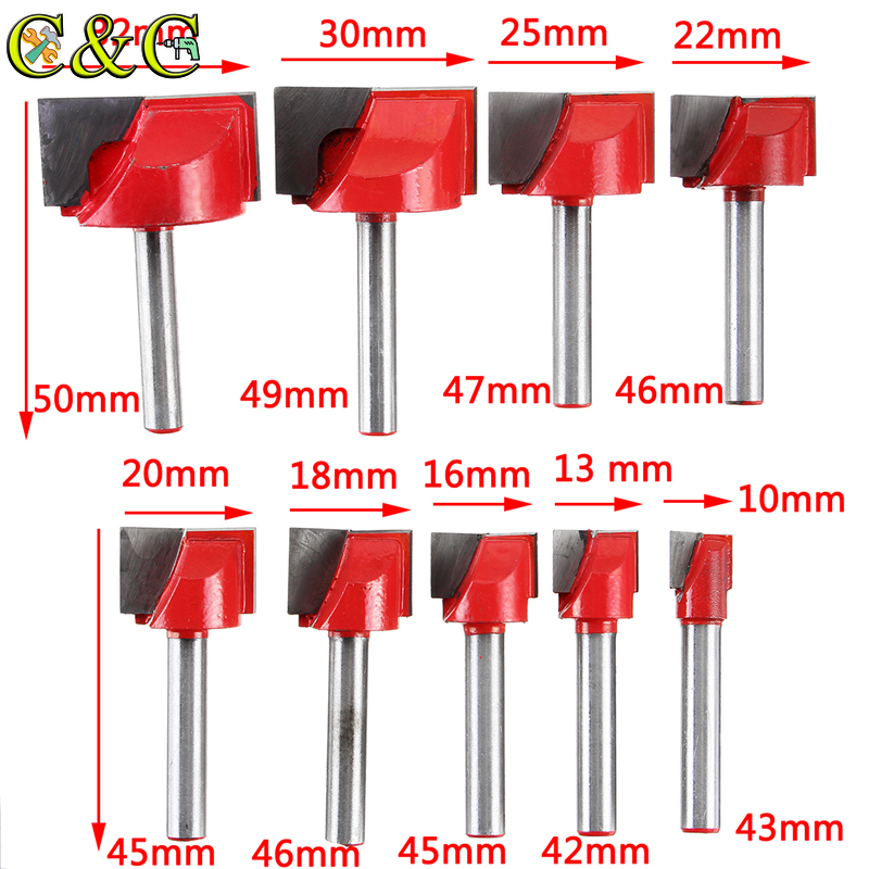 10mm Surface Planing Bottom Cleaning Wood Milling CNC Router Cutting Mill Bit