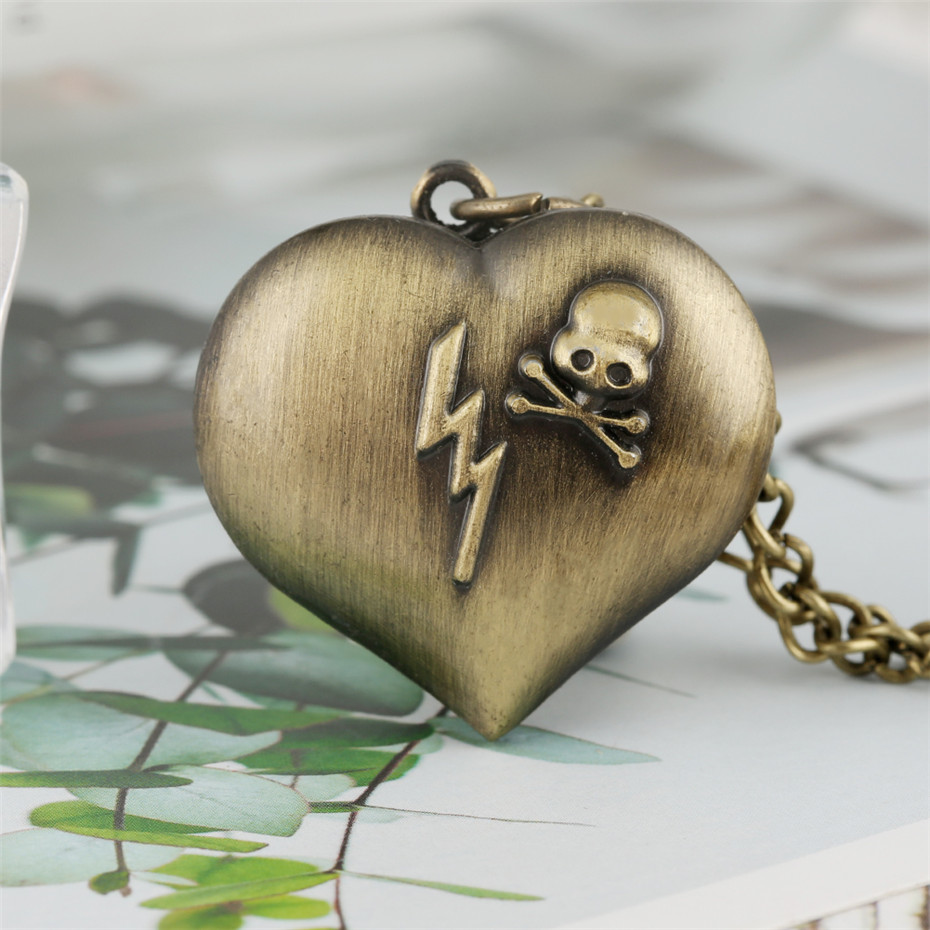 Bronze Heart Shape Skull Design Pendant Watch Quartz Pocket Watch Mini Necklace Fob Clock Gifts For Children Men Women