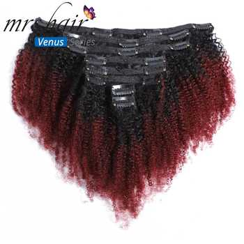 MRSHAIR Clip in Hair Extensions Afro Kinky Clip Ins Virgin Human Hair Ombre T1B/4/27 99J Hair Full Head 8pcs/set 8-20 Inch