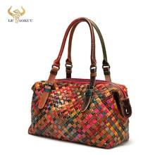 Bolso de hombro de cuero para mujer, bolsa de mano femenina de gran tamaño, diseño de lujo, colorido, Original, 9058