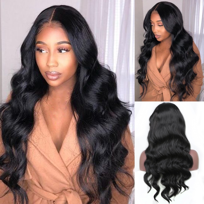 Charisma Long Body Wave Black Wig Heat Resistant Fiber Hair Synthetic Lace Front Wig Glueless Lace Front Wigs For Black Women