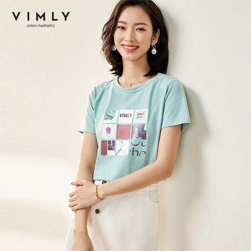 Vimly 2020 Summer Women Creativity Print Tshirt Vogue Round Neck Short Sleeve Slim Solid Cotton Casual Female T-shirt Tops F1338 1