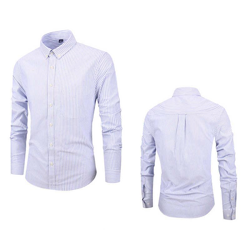 Styl europejski strój męski koszule w paski XXXXL Plus rozmiar koszula męska lato bawełna z długim rękawem Slim casualowe w stylu streetwear A715