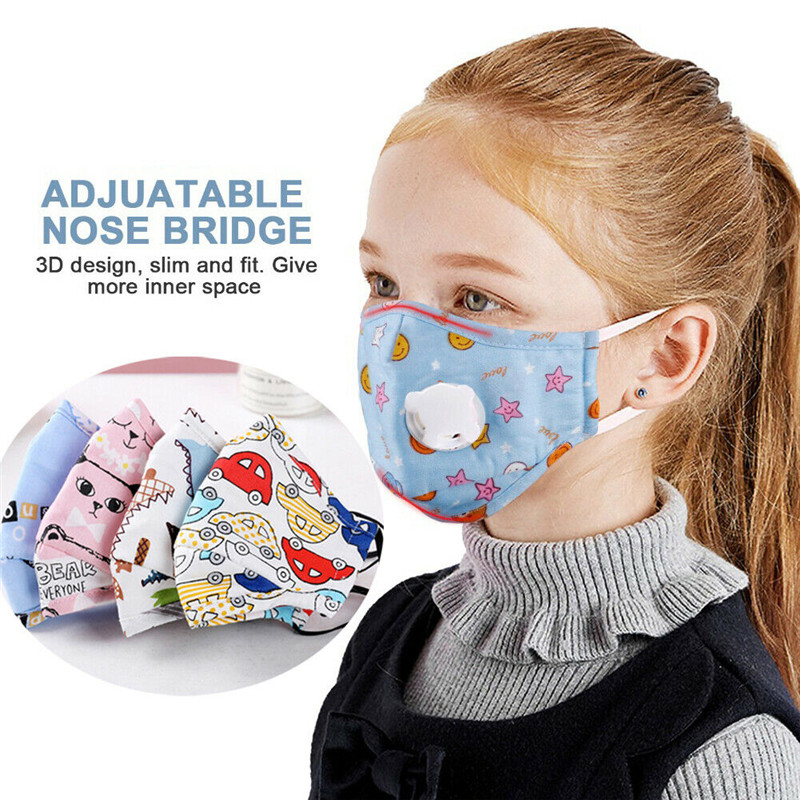 Children Mask With Breath Design Replaceable Filter Mouth Cartoon Kids Face Mask Reusable Anti-fog Safty Face Shield Protector