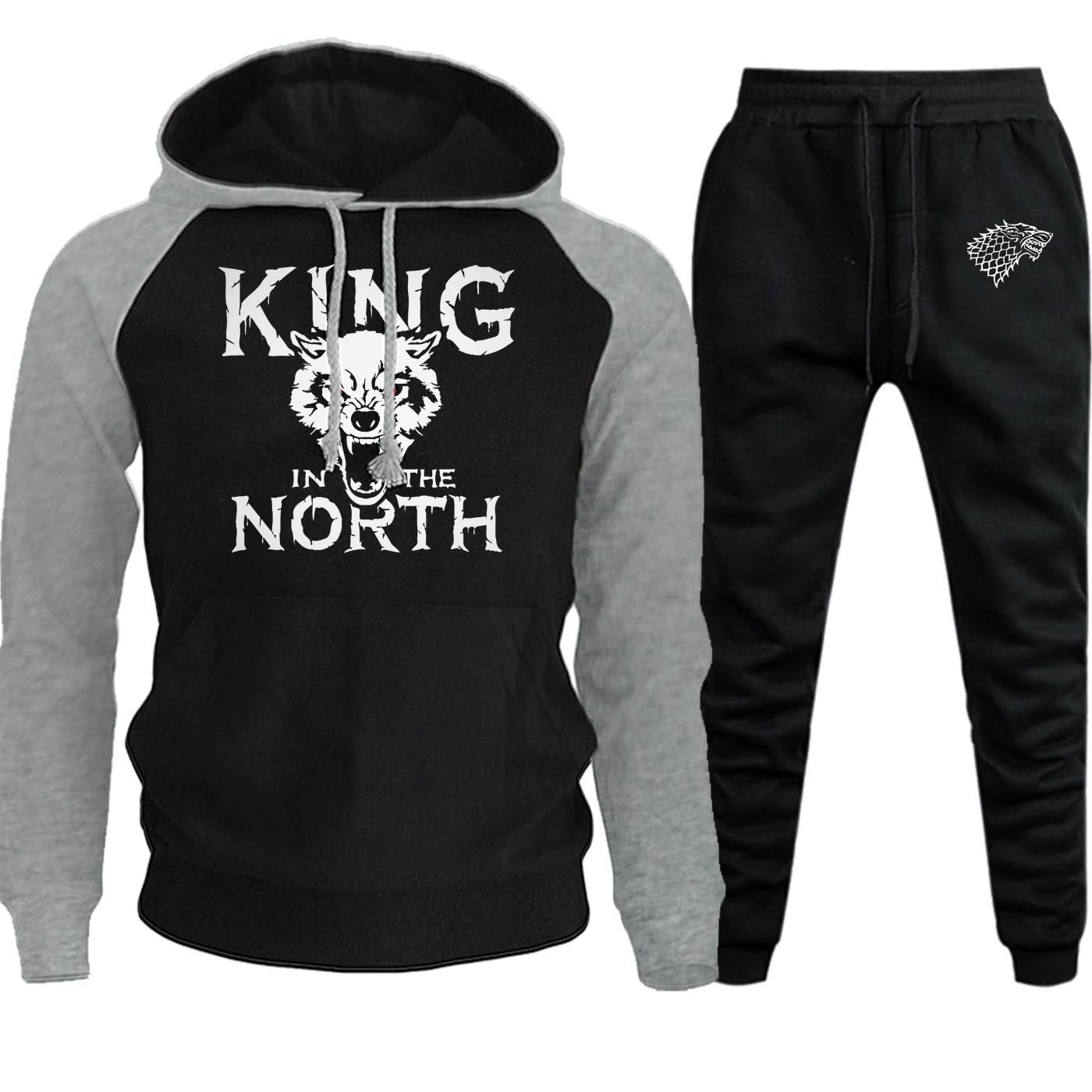 Game Of Thrones Print Autumn Winter Streetwear Men Raglan Hoodie House Of Thrones Suit Casual Fleece Hooded+Pants 2 Piece Set