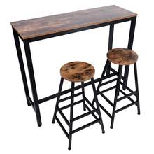 Bar Table Set Pub Height Bar Stool Dining Bistro Combination (1 Table 2 Chairs)(China)