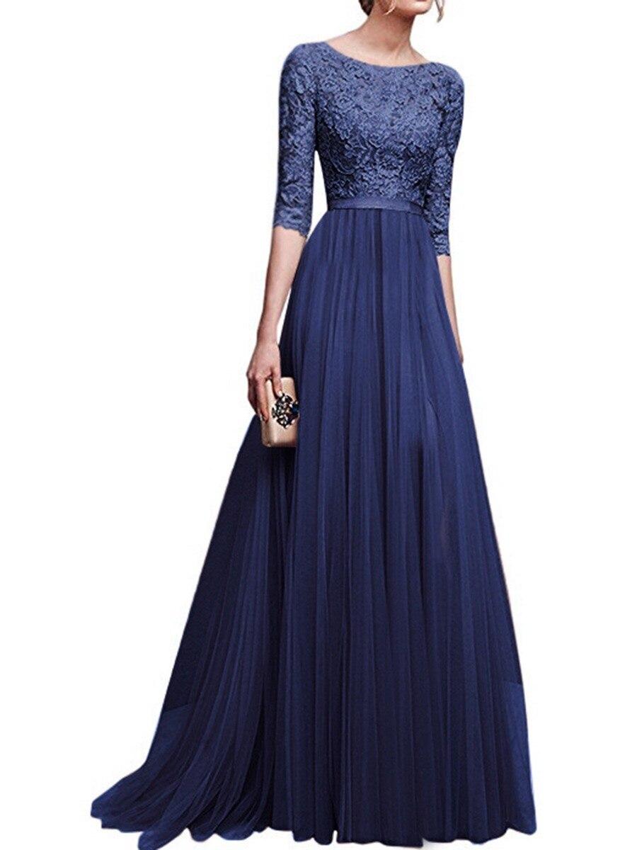 JS1111J-Autumn And Winter 2019 New Evening Dress Chiffon 5-sleeve Dress
