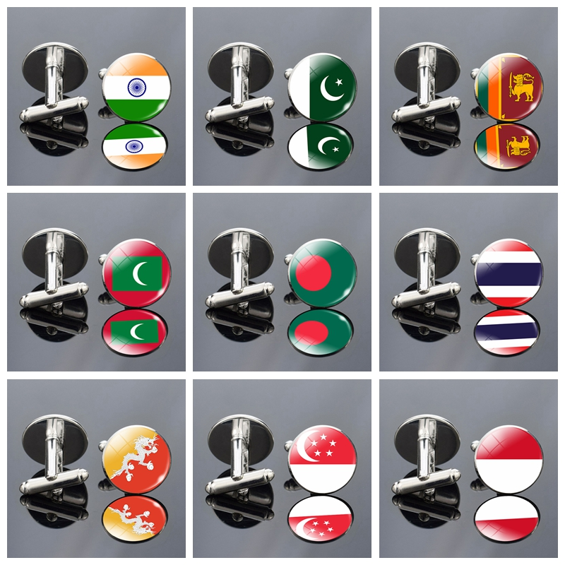 South Asia Flag Cufflinks Southeast Asia Cufflink India Pakistan Sri Lanka Indonesia Singapore Flag Men Wedding Cufflinks