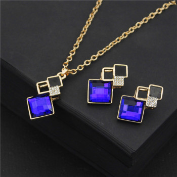 2020 Fashion Crystal Pendants Necklace Earrings Sets for Women Jewelry Set Bridal Wedding Earring Necklace Set