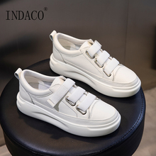 White Sneakers Leather Shoes Woman Off 4cm
