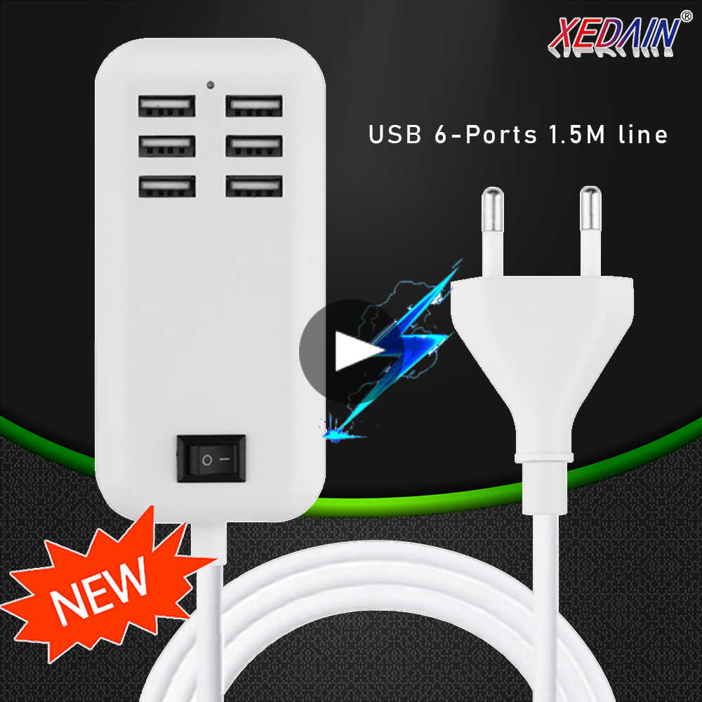 5V3A 6 Port Fast USB Charger Wall Charger Quick Charge Adapter Charger EUUS Plug for iphone XR Xiaomi All Smart Phone Charger