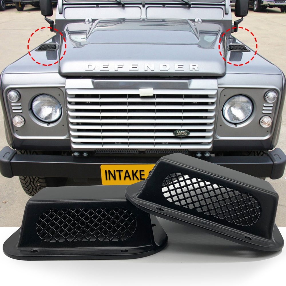 2 pcs car decorative front hood bonnet side trim cover steel air flow intake scoop vent snow cover for Land Rover Defender image