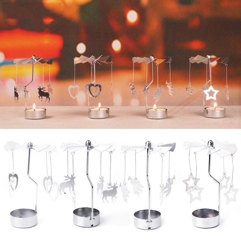 Multi-shape Романтический вращающаяся, крутящаяся металлический карусель Чай Свет Стенд подсвечник Рождество украшения цвет щепка