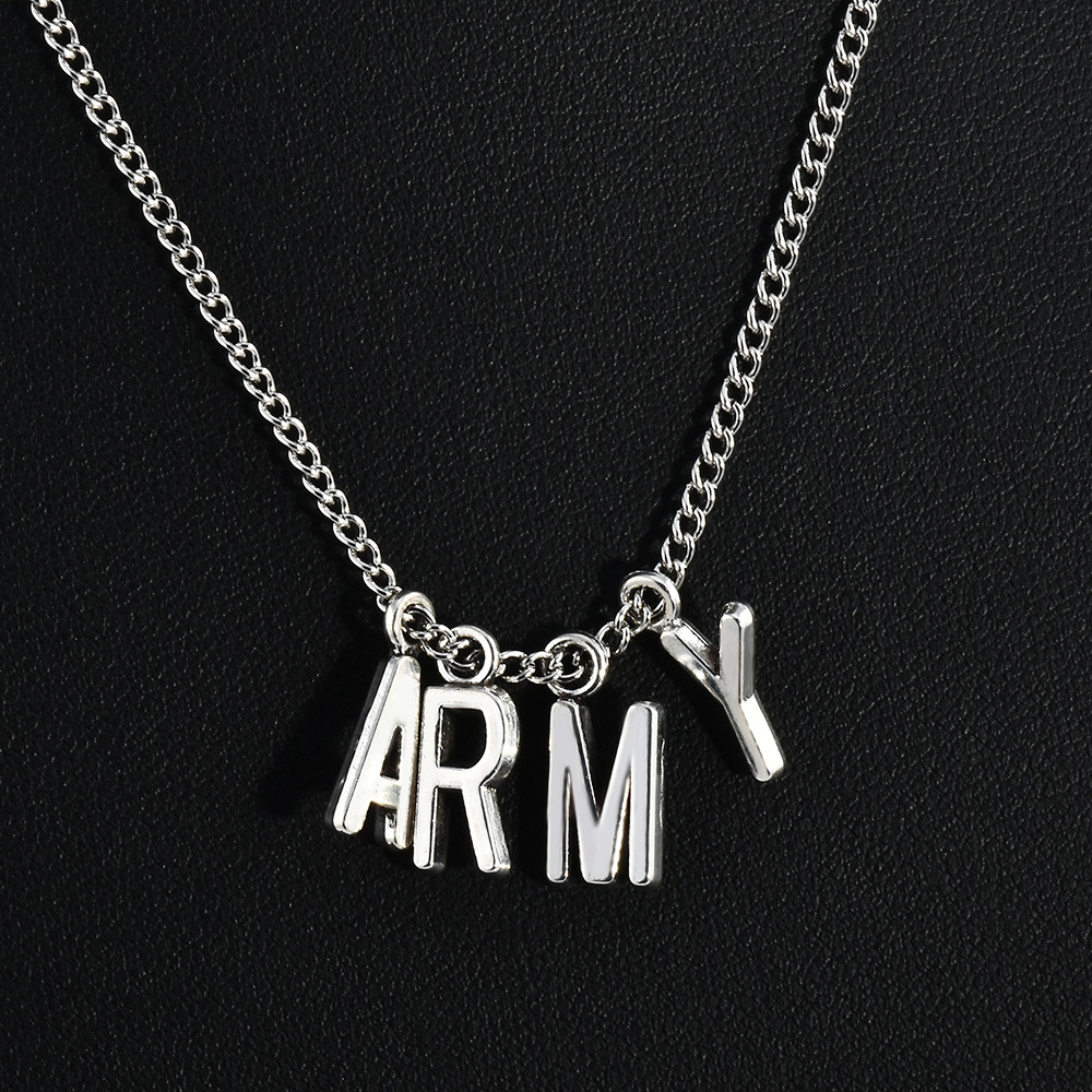 <font><b>Bts</b></font> <font><b>bts</b></font> Park Ji Min Jimin Celebrity Inspired Fan Club Fans Name Army Lettered Necklace image