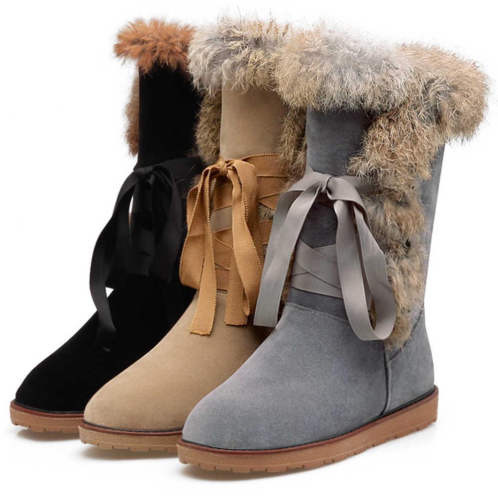 BONJOMARISA Elegant WARM MID-CALF Snow รองเท้าผู้หญิง 2019 สบายๆฤดูหนาวรองเท้าผู้หญิงรองเท้าส้นสูงรองเท้าผู้หญิง