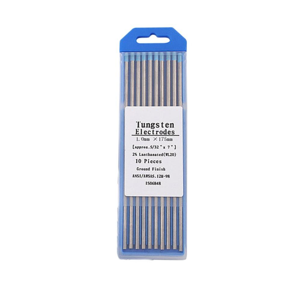 10pcs/Box WL20 Blue Color 1.0/1.6/2.0*170 Thorium Tungsten Electrode Head Tungsten Needle/rod For Welding Machine