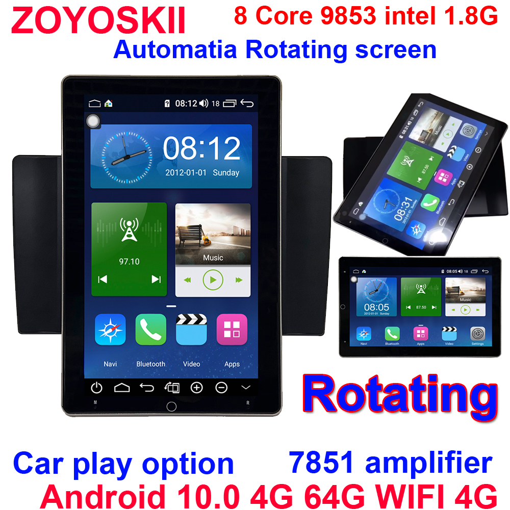 Android 10 10.1 inch Automatically motorized rotation universal car gps radio blutooth navigation player 4G 64G WIFI 4G 8 Core image