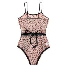 Sexy Eyelash Lace Lingerie Pajamas Women Leopard Heart Print Bow Transparent Bodysuit Sleepwear Jumpsuit Lencería Para Mujer #15