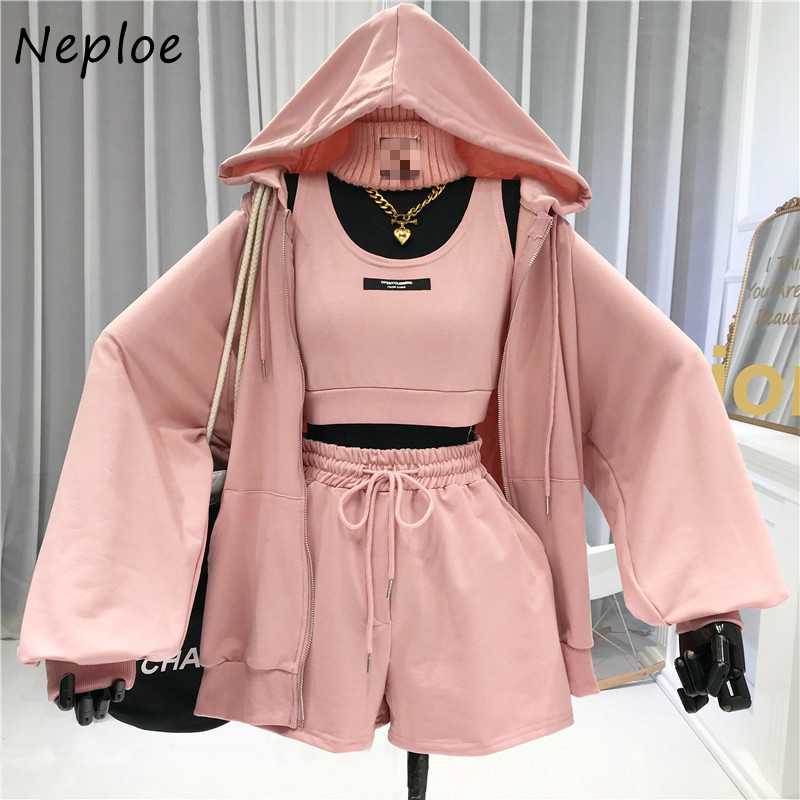 Neploe Casual All-match Suit Women's 2021 Sexy Letter Vest + Drawstring Shorts + Hooded  Zipper Jacket Fashion Three-piece Set