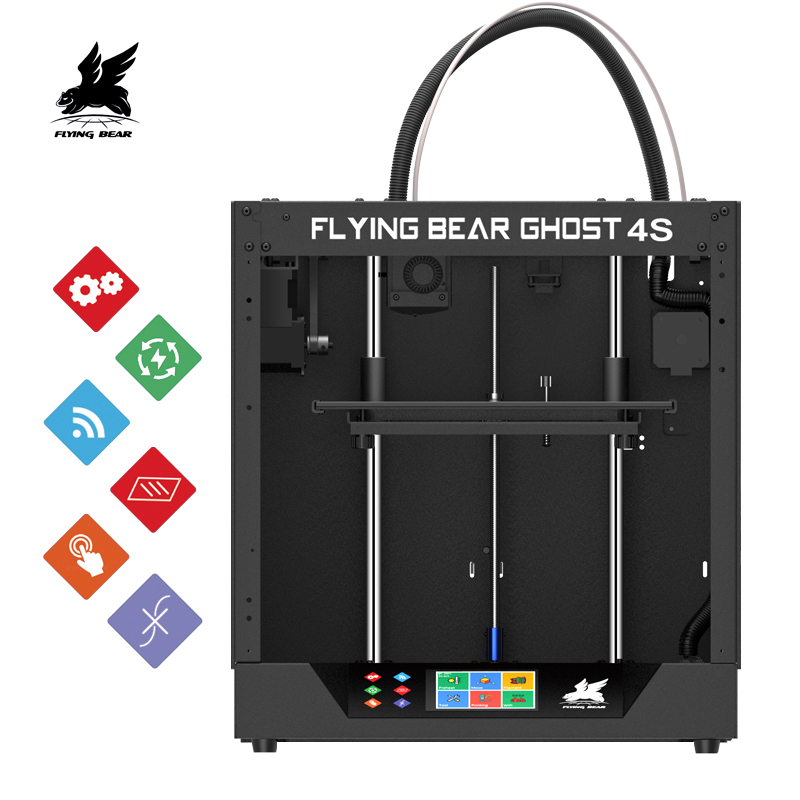 2019 Terbaru Desain Flyingbear-Ghost4S 3D Printer Penuh Bingkai Logam Presisi Tinggi 3d Printer DIY Kit Kaca Platform Akses Internet Nirkabel