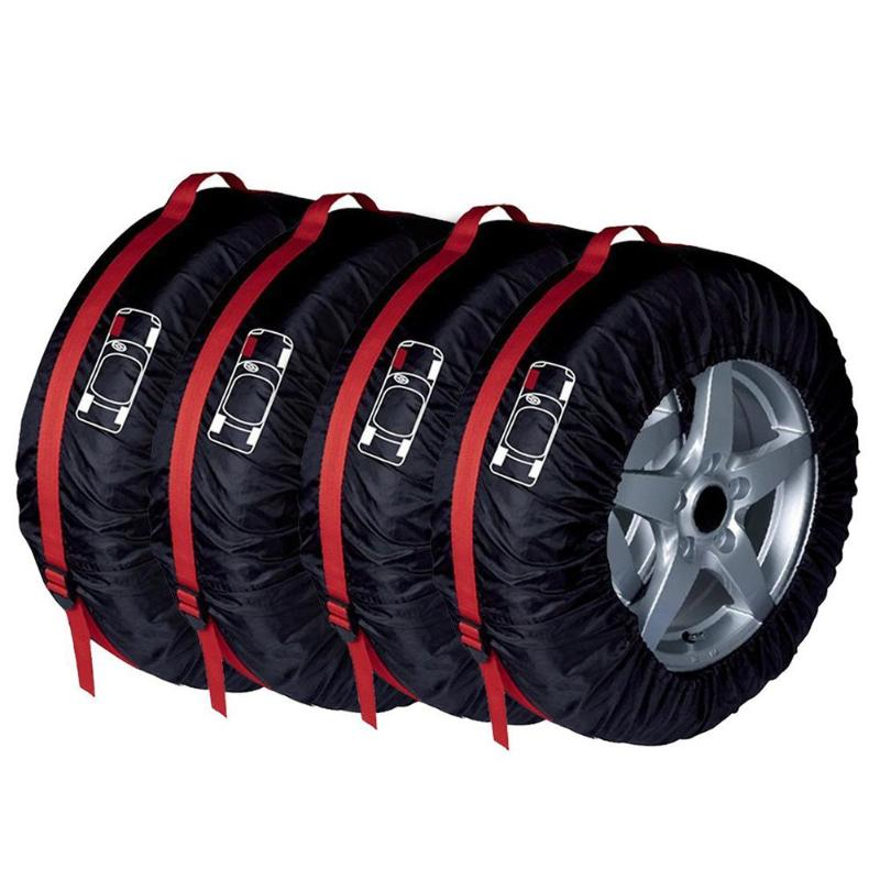 4Pcs Spare Tire Cover Case Polyester Winter And Summer Car Tires Storage Bag Automobile Tyre Accessories Vehicle Wheel Protector