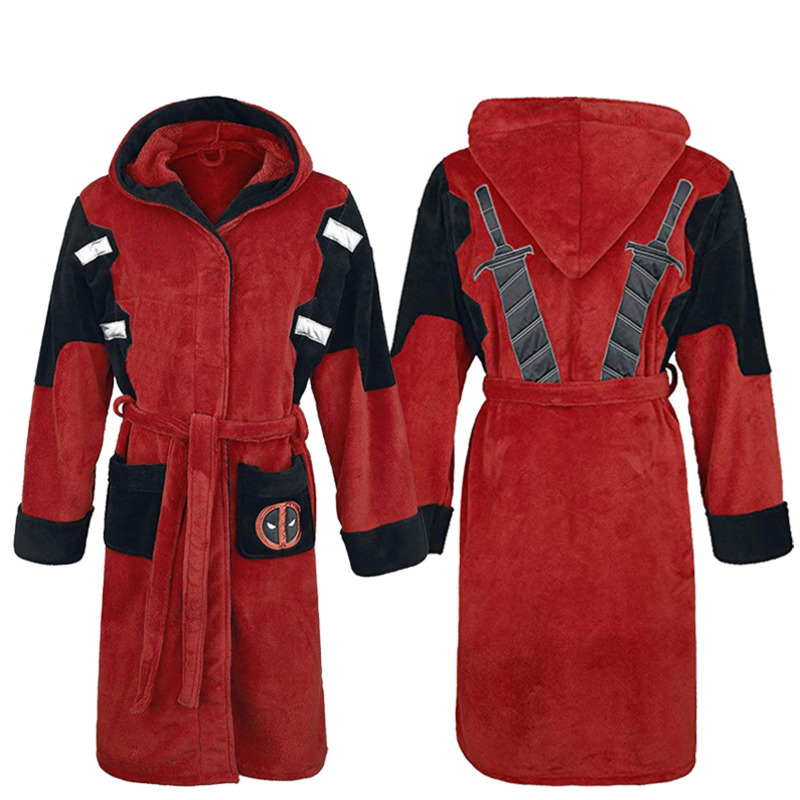 Cinmaul Red Hooded Deadpool Adult Embroidered Costume Fleece Bathrobe Hoodie Mens Robe Nightwear Pajamas