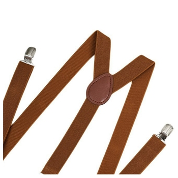 Unisex Clip on Suspender Elastic Y-Shape Back Formal Adjustable Braces, Brown 4