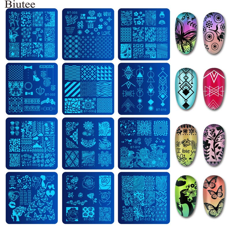 Biutee 6*6cm Square Nail Stamping Plates Design Lace Flower Temperature Nail Art Stamp Stamping Template Image Plate Stencils